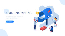 People Characters Standing Near Postbox And Sending Mails. Woman And Man Holding Envelopes Reading Letters. E-mail Marketing Concept. Flat Isometric Vector Illustration.