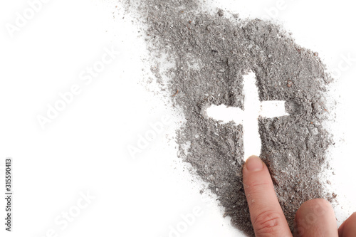 Cross made of ashes, Ash Wednesday, Lent season abstract background Wallpaper Mural