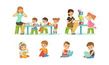 Speech Therapist Going Speech Gymnastics With Preschool Children, Teacher Explaining Alphabet To Kids, Boys And Girls Playing And Studying In Kindergarten Or School Vector Illustration