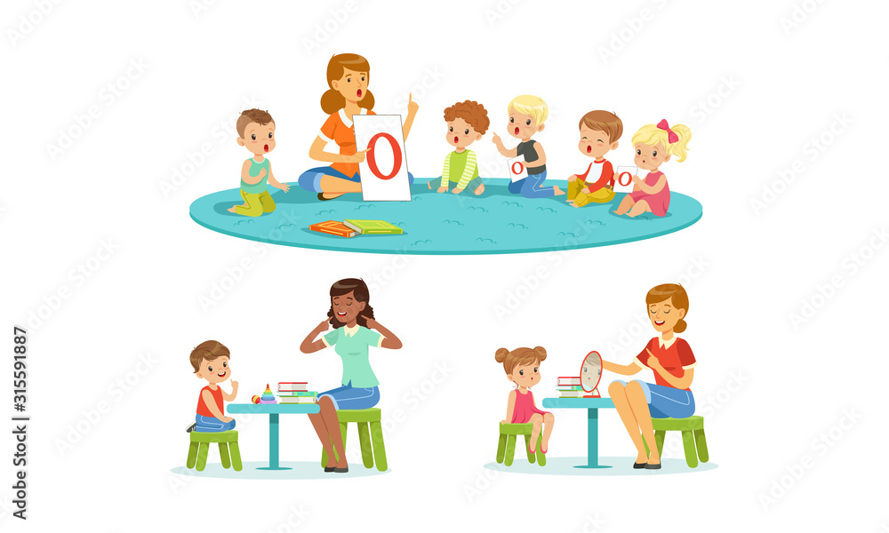 Fototapeta Speech Therapist Working with Preschool Children, Teacher Explaining Alphabet to Kids, Boys and Girls Playing and Studying in Kindergarten or School Vector Illustration