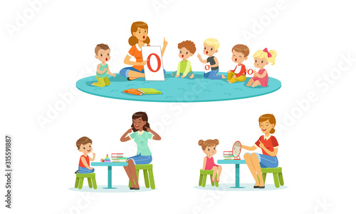 Fototapeta Speech Therapist Working with Preschool Children, Teacher Explaining Alphabet to Kids, Boys and Girls Playing and Studying in Kindergarten or School Vector Illustration obraz
