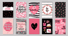 Big Set Of Valentine's Day Greeting Cards With Hand Written Greeting Lettering And Textured Brush Strokes On Background. Happy Valentine's Day, Love You Words, Love Concept,vector Illustration