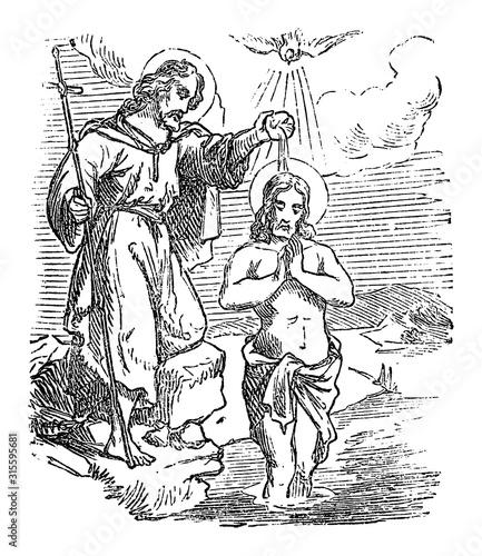 Carta da parati Vintage drawing or engraving of biblical story of John the Baptist baptizing Jesus in Jordan river