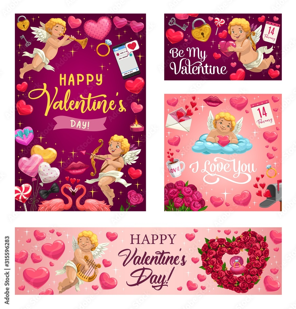 Fototapeta Happy Valentines day vector greeting card. Pink hearts and cupid with arrows, rose flowers wreath, angel with golden harp and pink flamingo with love lock and key