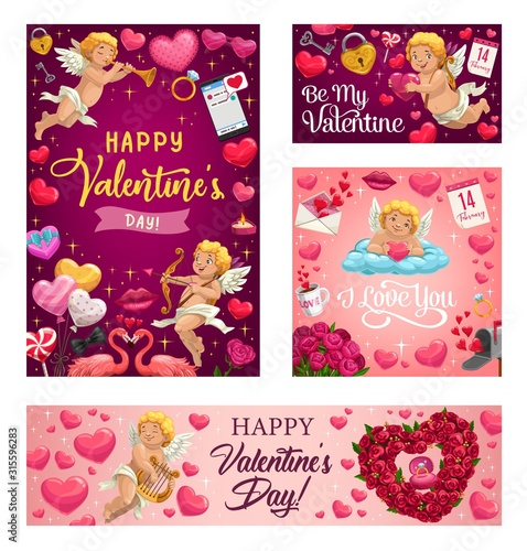 Obraz Happy Valentines day vector greeting card. Pink hearts and cupid with arrows, rose flowers wreath, angel with golden harp and pink flamingo with love lock and key - fototapety do salonu