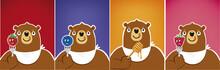 Cartoon Funny Bear Eating Blue...