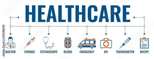Obraz Medicine and Healthcare Banner - fototapety do salonu