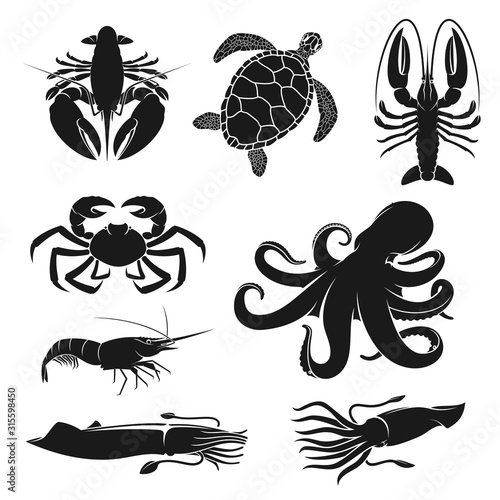 Photo Seafood and fishery crustacean, animals silhouette icons