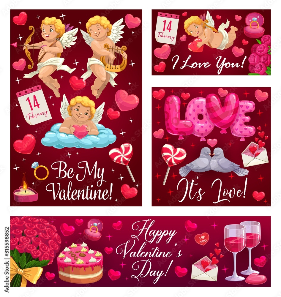 Fototapeta Happy Valentine day, Be My Valentine, I love you calligraphy with heart balloons, angels and red roses. Vector Valentine holiday celebration cupids with golden bow and arrow, wedding cake and ring