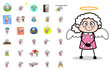 Different Comic Old Granny Character - Set of Concepts Vector illustrations