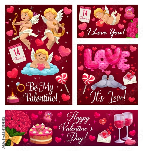 Obraz Happy Valentine day, Be My Valentine, I love you calligraphy with heart balloons, angels and red roses. Vector Valentine holiday celebration cupids with golden bow and arrow, wedding cake and ring - fototapety do salonu