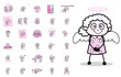 Many Comic Old Granny - Set of Concepts Vector illustrations