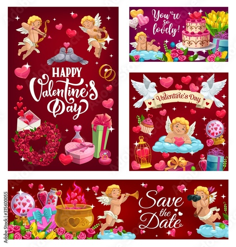 Obraz Happy Valentines Day, Save the Date calligraphy invitation, 14 February. Vector cupids and couples of doves, wedding cake and flower bouquets. Letters with love messages, gifts and heart in cage - fototapety do salonu