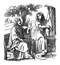 Vintage Drawing Or Engraving Of Biblical Story Of Jesus Talks With Samaritan Woman Near Well. Bible, New Testament,John 4. Biblische Geschichte , Germany 1859.
