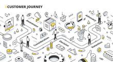 Customer Journey Isometric Outline Illustration