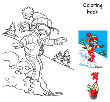 Happy Little Girl Is Snowboarding. Winter Holiday. Coloring Book. Cartoon Vector Illustration