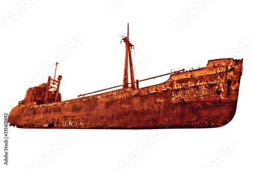 Stampa su Tela Side view of the rusty shipwreck in Glyfada beach near Gytheio, Gythio Laconia, Peloponnese, Greece