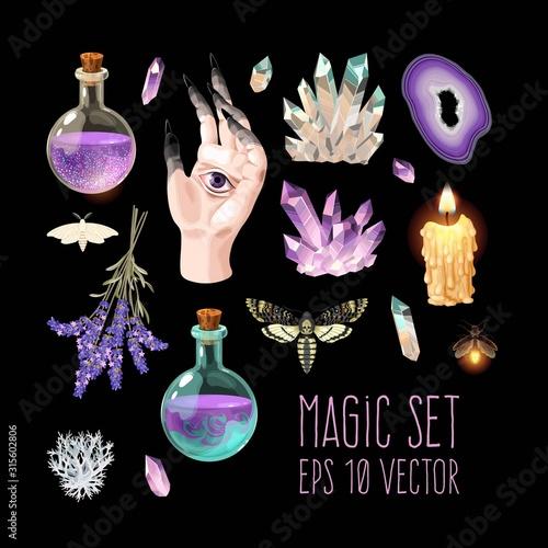 Fototapeta Big vector set of witch craft supplies