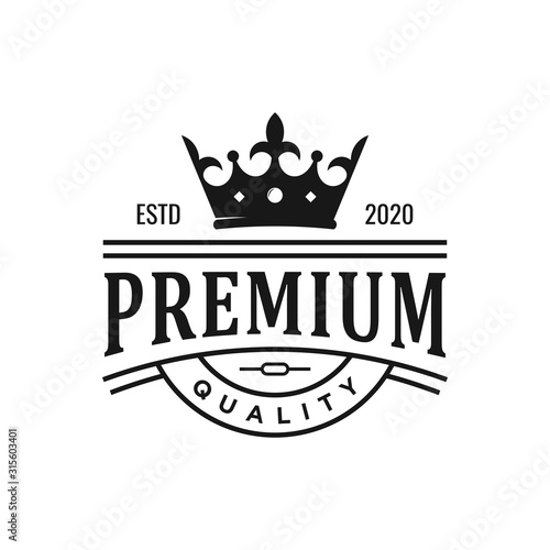vintage royal crown logo design Canvas Print