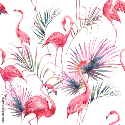 Photo Watercolor flamingo and summer floral texture