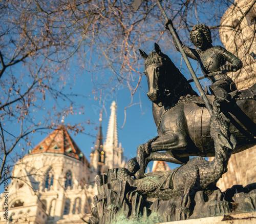 Photo  Budapest, Hungary - Saint George dragon slayer statue