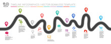 Navigation Roadmap Infographic Timeline Concept With Place For Your Data. Vector Illustration