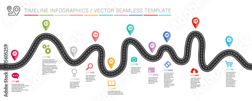 Fototapeta Navigation roadmap infographic timeline concept with place for your data. Vector illustration obraz