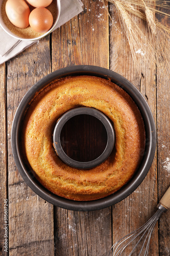 Photo  homemade sponge cake with ingredient