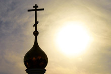 Church Dome Gold Cross With Dark Dramatic Blue Sky On The Background. Russian Cathedral Of Orthodox Religion. Represent Faith, Hope And Christ