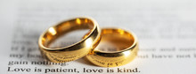 Golden Wedding Rings On Bible ...
