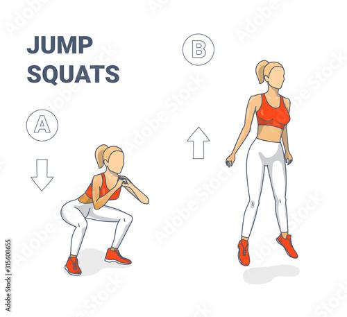Girl doing Jump Squats silhouettes Fototapet