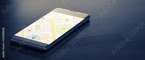 GEO TARGETING on a Mobile Phone. Online Map on a Screen. Close-up Image of Modern Smartphone with Mao or Geo Tracking on Dark Surface. Map Tracking or Geolocation Concept. 3D Render. #315609828