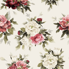 Fototapeta Malarstwo Seamless floral pattern with peonies, watercolor.