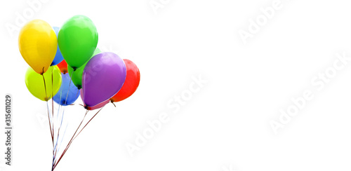 Obraz na plátně Colorful balloons isolated on white, banner, header, headline, panorama, copy sp