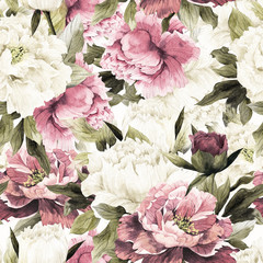 Fototapeta Kwiaty Seamless floral pattern with peonies, watercolor.