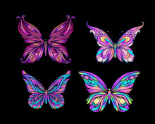 Hand Drawn Butterfly In Bright Neon Colors. Han Drawing Design For T-shirt Print Or Tattoo. Isolated Vector Illustration.