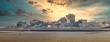 canvas print picture - Ankunft auf Norderney mit der Fähre, Skyline Panorama Abendlich Sonnenuntergang