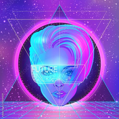 Photo Futuristic synth wave style