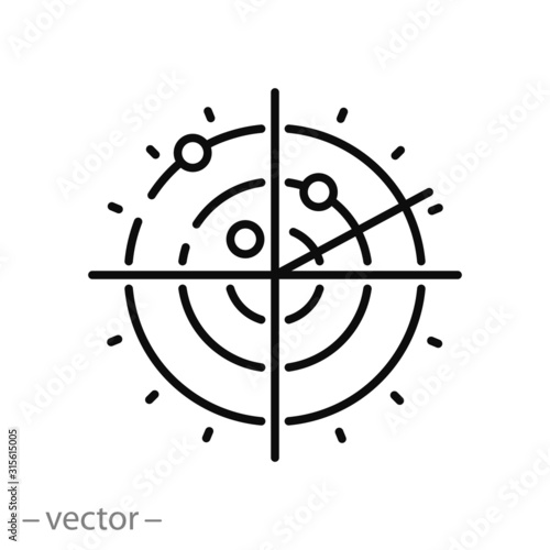 radar icon, signals satellite, airspace scan, target on screen, scope sonar, thi Wallpaper Mural