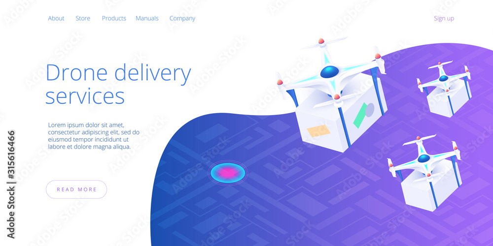 Fototapeta Drone delivery service concept in isometric vector illustration. Camera robot or quadrotor helicopter delivering box or parcel over cityscape. Web banner layout or background template.
