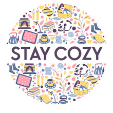 Stay Cozy Banner With Icons For Relaxing Winter Evening Indoors