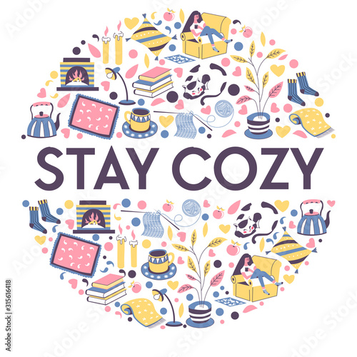 Obraz Stay cozy banner with icons for relaxing winter evening indoors - fototapety do salonu