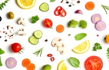 Food Pattern With Raw Fresh In...