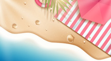 Relax Summer Beach Scene With Blanket And Palm Leaves In 3d Illustration. Vector Illustration