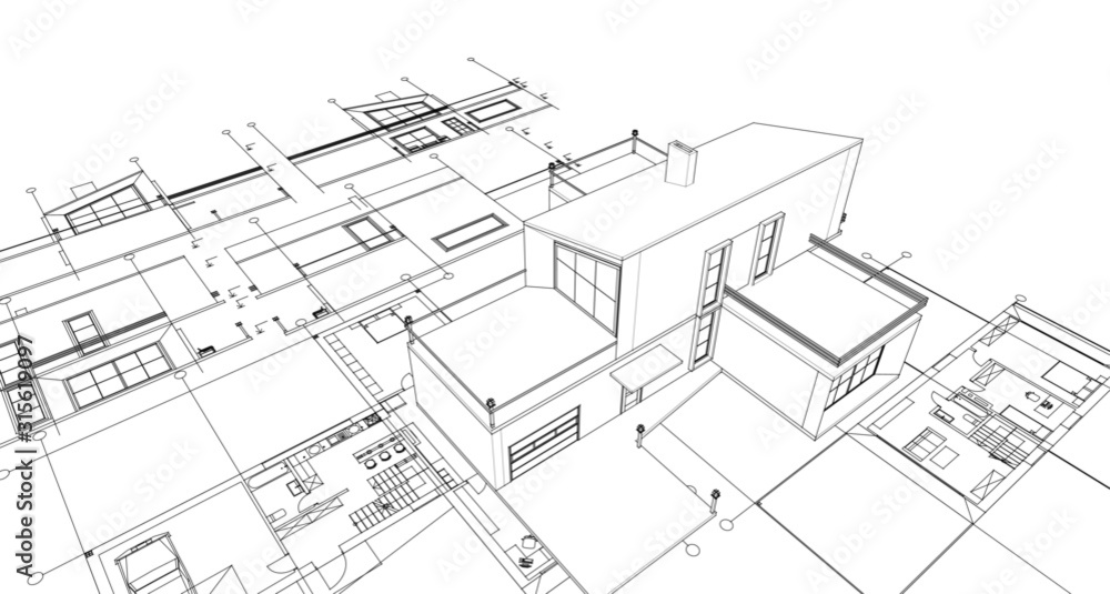 Fototapeta house with attic 3d illustration