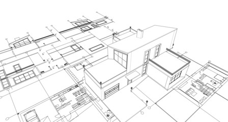 house with attic 3d illustration