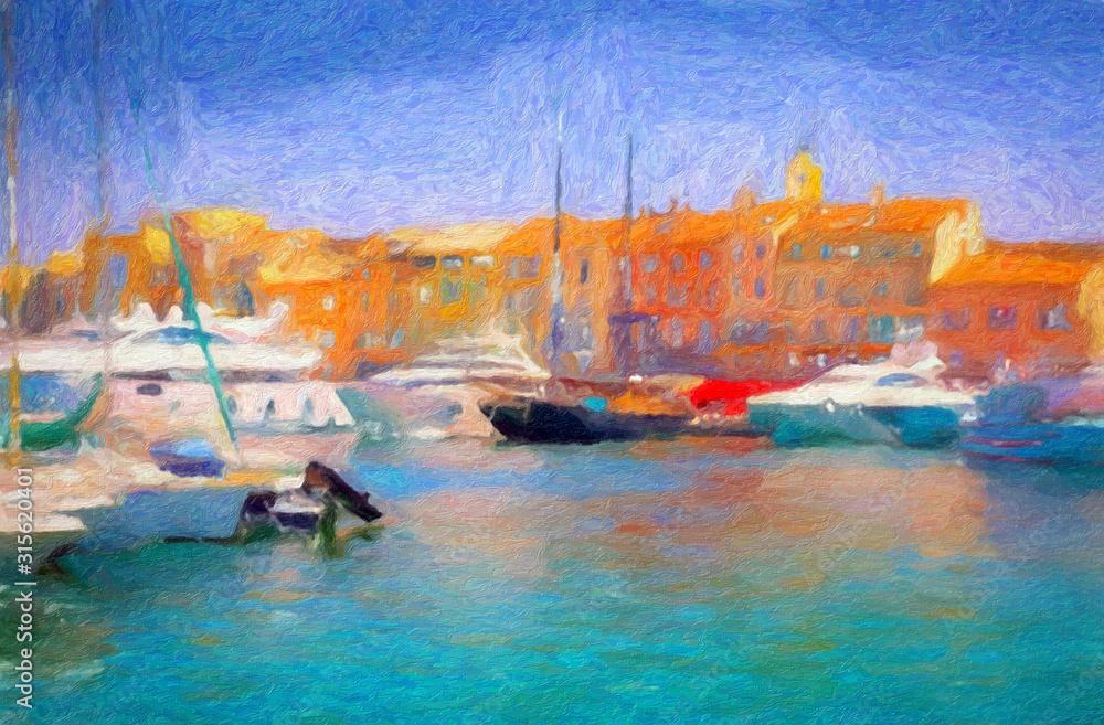 Fototapeta Impressionnisme, port de Saint-Tropez. Var