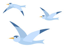 Arctic Seagull Characters Set Isolated On White. Polar Element Of Fauna With Wild Flying Bird In Flat Design Style. Flock Of Birds, Group Of Freedom Animal With Beak And Wings In Blue Color Vector