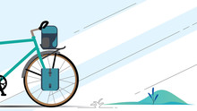 Vector Illustration Of Touring Bike With Bikepacking Bags And Tent In Case. Road Racing Bicycle And Bikepacking Gear. Flat Style Design.