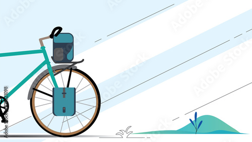 Fotografía Vector illustration of touring bike with bikepacking bags and tent in case